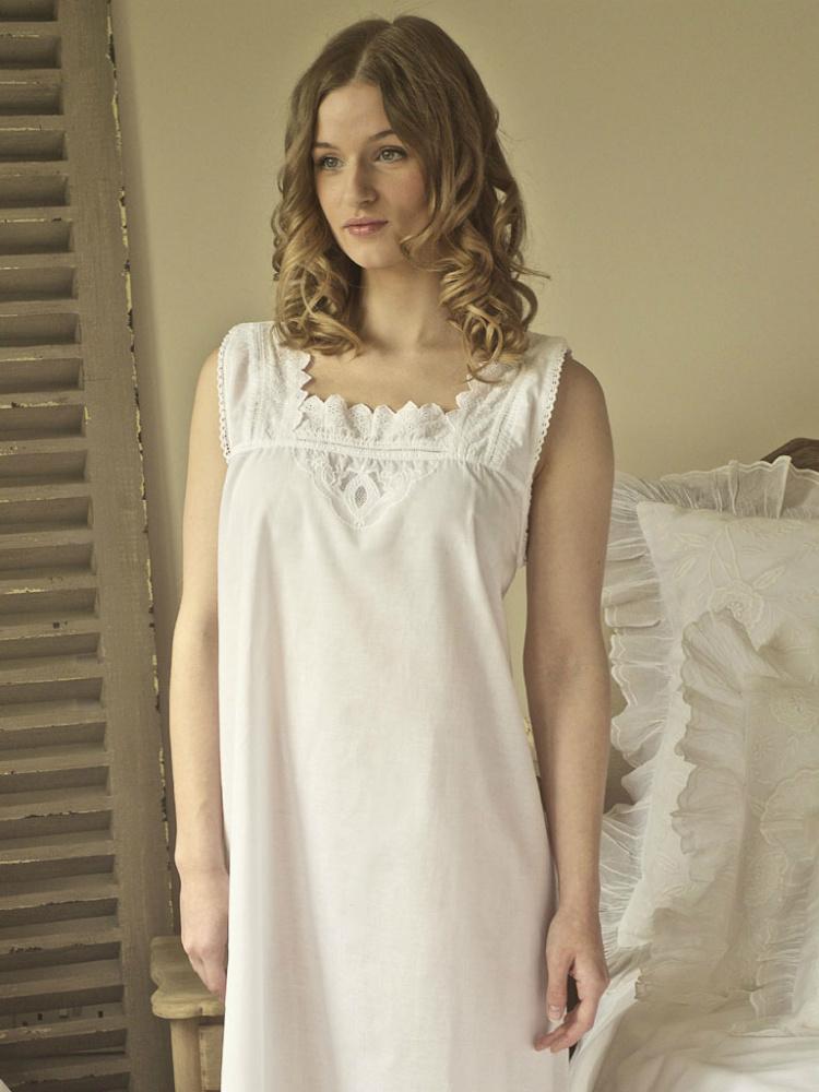 b9a16676ed Sleeveless Cotton Nightdress | Chemise | White Nightie | Cotton ...