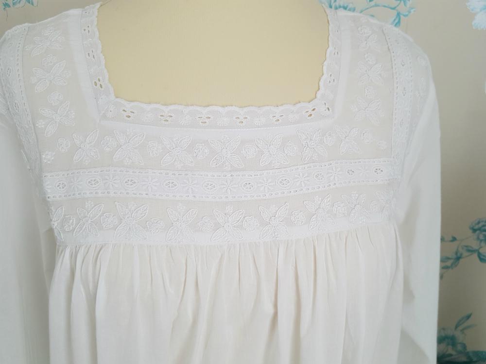 Eleanor. £31.95. A superb elegant square-necked soft cotton nightgown. e0f3c2054